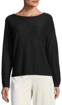 Eileen Fisher Sleek Long-Sleeve Bateau-Neck Knit Top