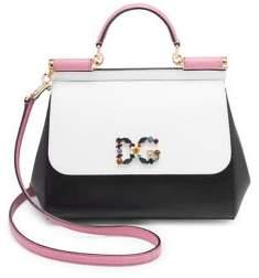 Dolce & Gabbana Colorblock Satchel - BLACK-WHITE - STYLE
