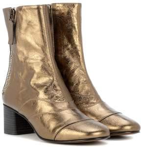 Chloé Lexie metallic leather ankle boots