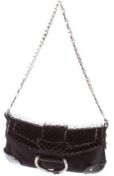 Dolce & Gabbana Python-Trimmed Evening Bag - BLACK - STYLE
