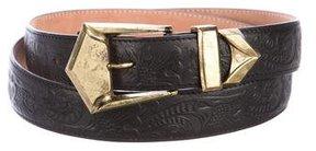 Balmain Embossed Leather Buckle Belt