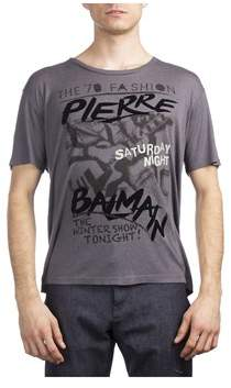 Pierre Balmain Men's Wool Viscose 70's Graphic T-shirt Grey.