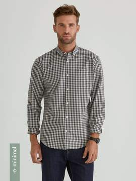 Frank and Oak The Minimal Branford Gingham Shirt in Palmer Green/Baby Blue