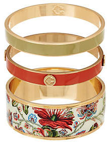 C. Wonder Set of 3 Floral Print & Solid Enamel Round Slip-on Bangles