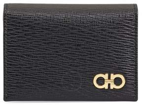 Salvatore Ferragamo Bilfold Leather Card Case- Black