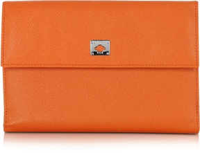 Pineider City Chic Orange Leather French Purse Wallet
