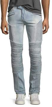 Balmain Distressed Skinny Light-Wash Moto Jeans