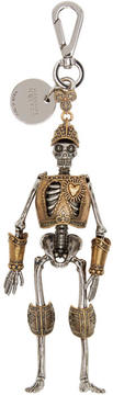 Alexander McQueen Silver and Gold Skeleton Keychain