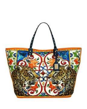 Dolce & Gabbana Beatrice Leopard/Maiolica Printed Canvas Tote Bag - MULTI PATTERN - STYLE