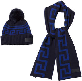 Versace Navy and Blue Branded Knit Hat and Scarf Set