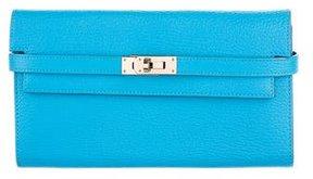 Hermes Chevre Mysore Kelly Longue Wallet - BLUE - STYLE