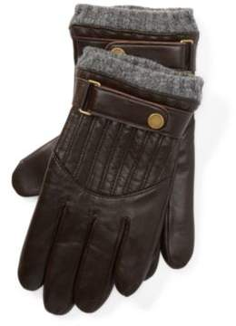 Ralph Lauren Quilted Leather Racing Gloves Circuit Brown S