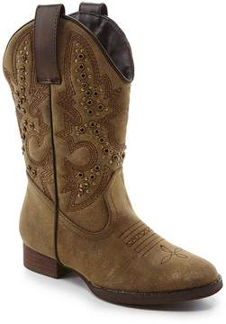 Volatile Stunner Girls Metallic Intricately Stitched Pull On Western Boots