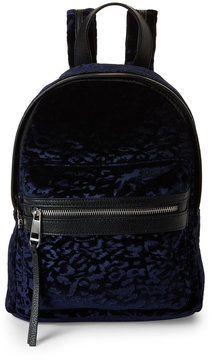 madden girl Navy King Leopard-Embossed Velvet Backpack