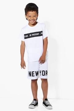 boohoo Boys New York T-Shirt and Shorts Set
