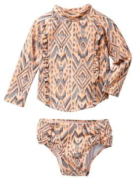 Jessica Simpson Print Raglan Top & Bottom Swimsuit Set (Baby Girls)