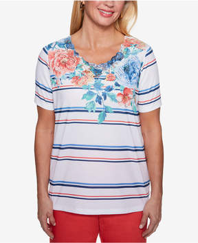 Alfred Dunner Sun City Embellished Mixed-Print T-Shirt