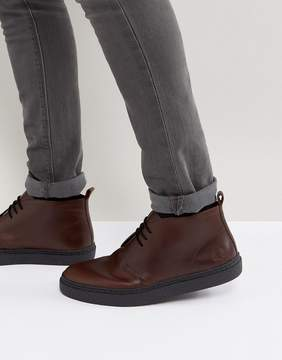 Fred Perry Hawley Mid Leather Desert Boots in Dark Brown