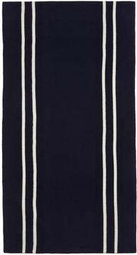 Comme des Garcons Navy and White Stripe Scarf