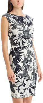Chaps Petite Palm Twist-Front Sheath Dress
