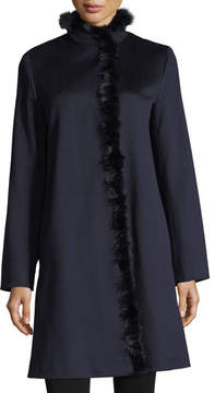 Fleurette Modern Stand-Collar Dress Coat w/ Mink Trim