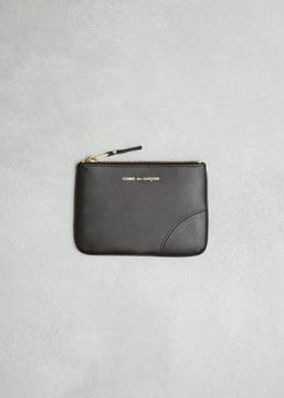 Comme des Garcons WALLET black classic leather line zip pouch