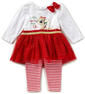 Baby Starters Baby Girls 3-12 Months Christmas Reindeer Tutu Top & Striped Leggings Set