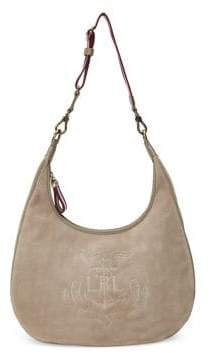 Lauren Ralph Lauren Suede Logo Hobo Bag