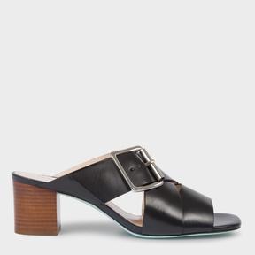 Paul Smith Women's Black Leather 'Kenza' Heeled Sandals