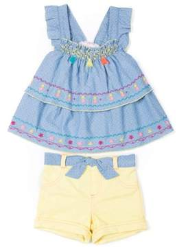 Little Lass Toddler Girls' Sleeveless Tiered Chambray Top & French Terry Shorts, 2Pc Outfit Set