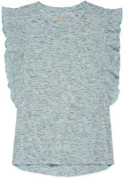 Arizona Short Sleeve Striped Ruffle Tee - Girls' 4-16 & Plus