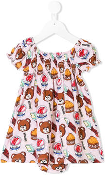 Moschino Kids Teddy snack print dress and underwear