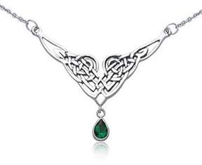 Celtic Bling Jewelry Knot Simulated Emerald Teardrop Pendant Sterling Silver Station Necklace 16 Inches.