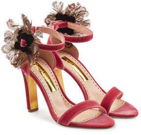 Rupert Sanderson Nymphea Velvet Sandals with Feathers
