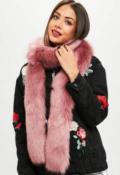 Missguided Pink Faux Fur Long Shawl