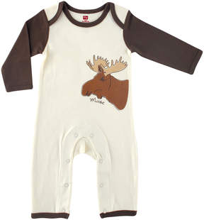 Hudson Baby Brown & Ecru Organic Cotton Moose Playsuit - Newborn & Infant