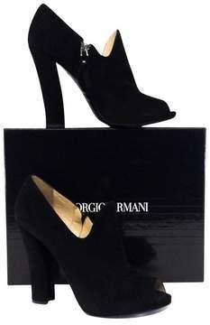 Giorgio Armani Black Suede Peep Toe Shoeties