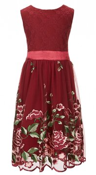 Xtraordinary Little Girls 4-6X Floral Embroidery Fit-And-Flare Dress