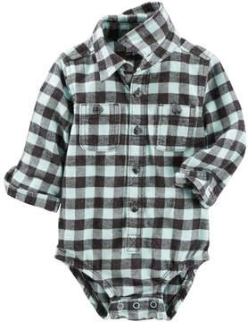 Osh Kosh Baby Boy Flannel Plaid Bodysuit