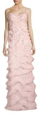 Aidan Mattox Tiered Pleated Embroidered Gown