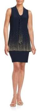 Betsy & Adam Embellished Tiered Shift Dress