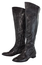 Paul Green Dark Taupe Leather Riding Boots