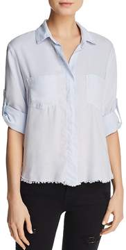 Bella Dahl Frayed-Hem High/Low Blouse