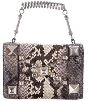 Roberto Cavalli Small Studded Snakeskin Handle Bag