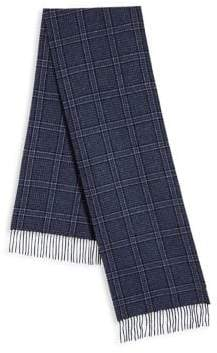 Saks Fifth Avenue COLLECTION BY JOHNSTONS Check Patterned Cashmere Fringed Scarf