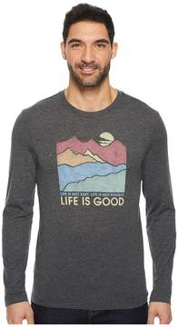 Life is Good Easy Perfect Good Mountains Long Sleeve Cool Tee Men's Long Sleeve Pullover
