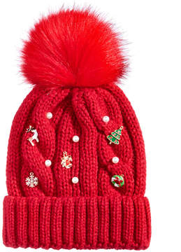 Collection XIIX Cable-Knit Pom Charm Beanie