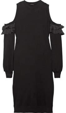 Clu Cold-shoulder Silk-trimmed Cotton-jersey Dress - Black