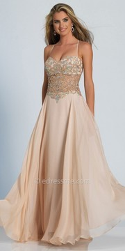 Dave and Johnny Iridescent Embellished Sweetheart Illusion Evening Dress