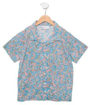 Rachel Riley Boys' Paisley Print Button-Up Top